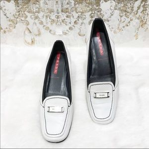 Prada women's leather loafer shoes size 36.5